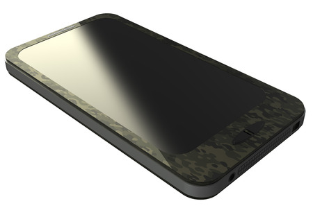 Smartphone in camouflage paint  isolated  White background 3D photo