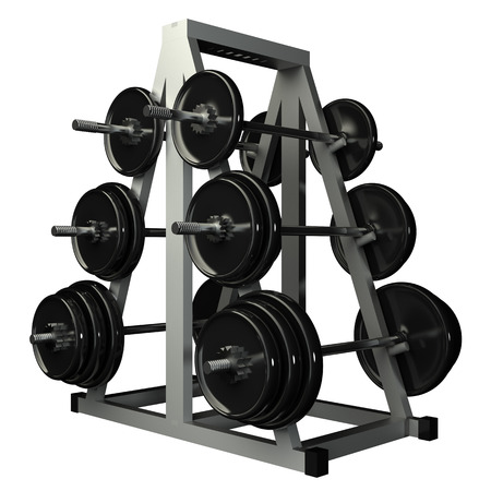 Rack for storing barbells  Isolated  white background  3d