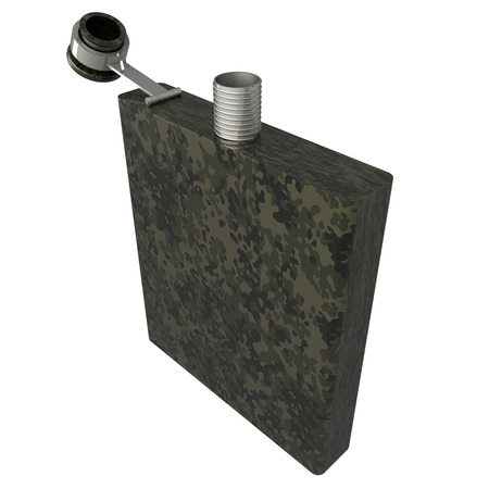 hip flask: Military hip flask  Isolated  white background  3d