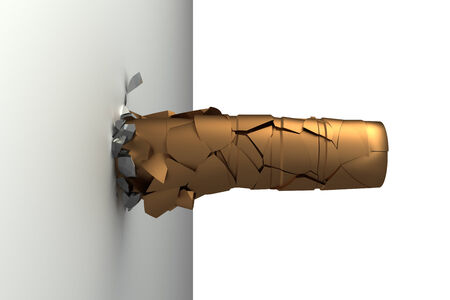 The bullet hit the wall  concept  isolated  white background 3d photo