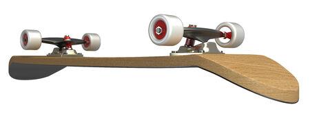 extreme close up: skateboard  isolated  white background  3d Stock Photo