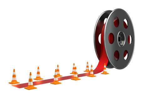 Bobbins films and red carpet  isolated white background  3d photo