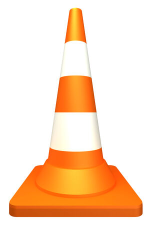 Orange highway traffic cone with white stripes  isolated  white background  3d photo