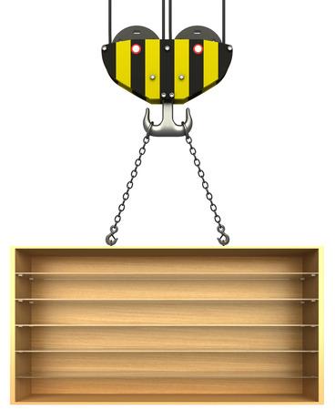 Crane hook and empty wooden bookshelf  isolated white background  3d photo