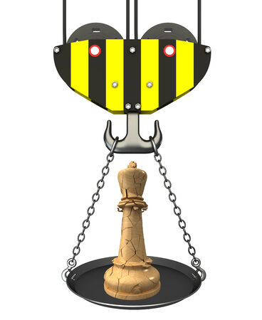 Concept  crane hook with bowl and chess queen  Isolated  white background  3D photo