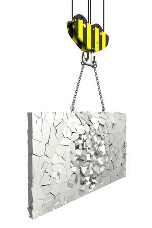 shards: crane hook lifting shards of plate  isolated  white background  3D