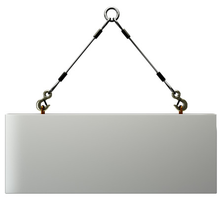 slings: Concrete slab on metal hanging rope slings  isolated  a white background  3d