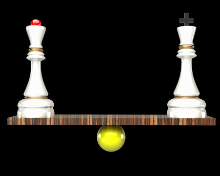 balance concept king and queen chess black background 3d photo