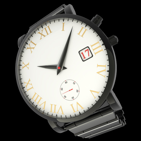wrist watch. isolated on black background. 3d photo