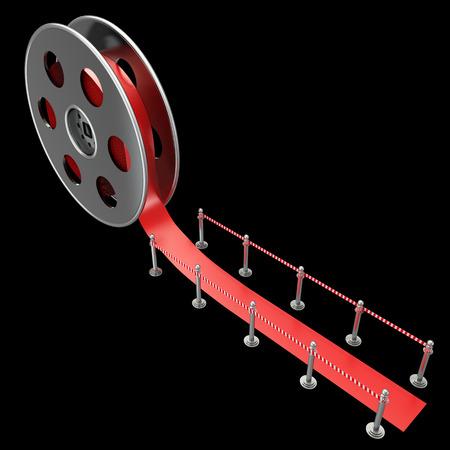 Cinema film roll and red carpet. isolated on black background. 3d illustration  illustration