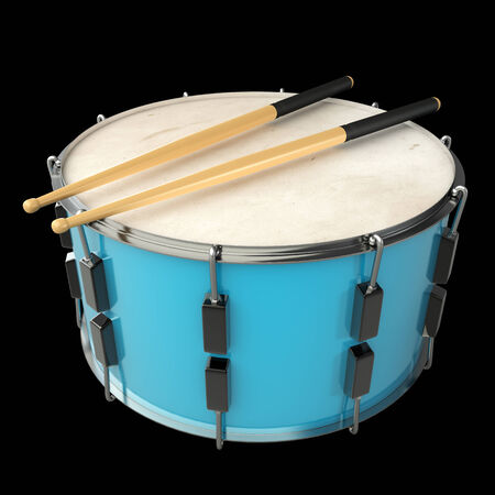 drum and sticks. isolated on black background. 3d illustration Stock Photo
