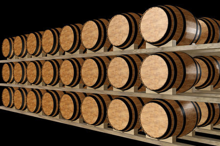 cellar: Wine barrels stacked in the old cellar of the winery. isolated on black background. 3d illustration Stock Photo
