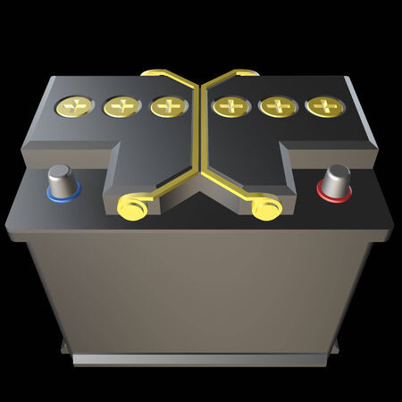 12v: Battery car realistic. isolated black background. 3d