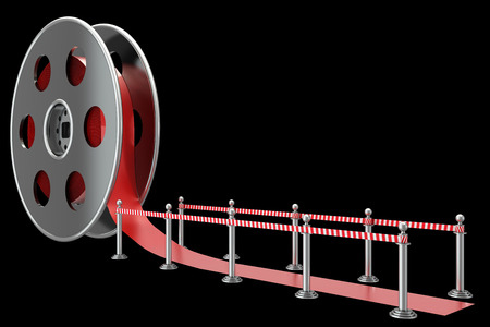 Cinema film roll and red carpet. isolated on black background. 3d illustration