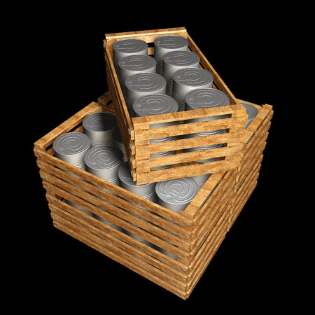 Metal Tin Can wooden crate. isolated on black background. 3d illustration illustration