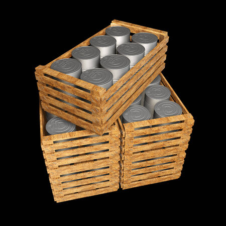 tincan: Metal Tin Can wooden crate. isolated on black background. 3d illustration