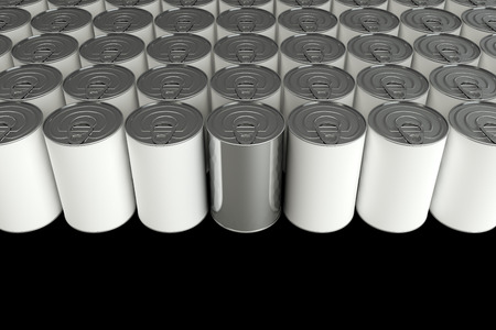 tincan: Metal Tin Can. isolated on black background. 3d illustration