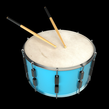 marching band: drum and sticks. isolated on black background. 3d illustration Stock Photo