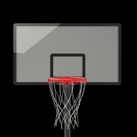 nylon string: basketball hoop. isolated on black background. 3D image Stock Photo