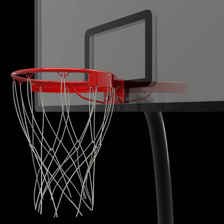nylon: basketball hoop. isolated on black background. 3D image Stock Photo