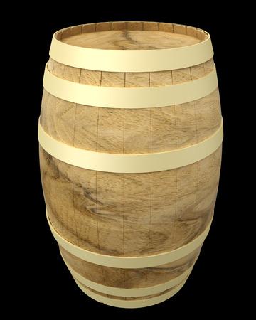 Wooden wine barrels. isolated on black background. 3d illustration illustration