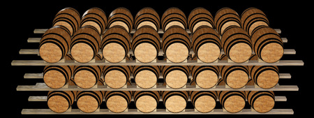 oak barrels stacked top. Wine Barrels Stacked In The Old Cellar Of Winery. Isolated On Black Background. Oak Top