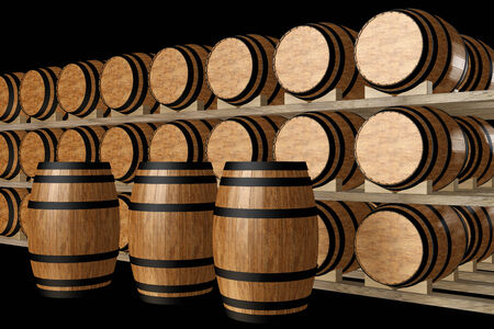 Wine barrels stacked in the old cellar of the winery. isolated on black background. 3d illustration Stock Photo