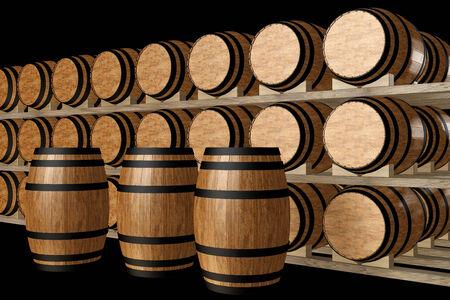 Wijn vaten gestapeld in de oude kelder van het wijnhuis. geïsoleerd op een zwarte achtergrond. 3d illustratie Stockfoto
