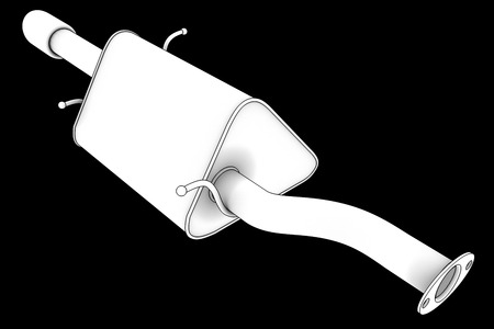 tailpipe: Car exhaust silencer. isolated on black background. 3d