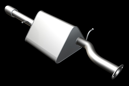 Car exhaust silencer. isolated on black background. 3d photo