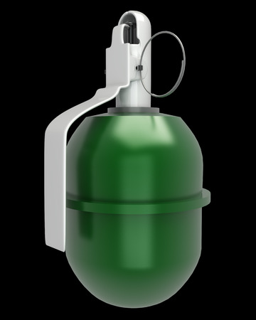 granade: grenade. isolated on black background. 3d