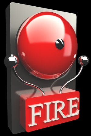 Red fire alarm bell. High resolution. 3D image photo