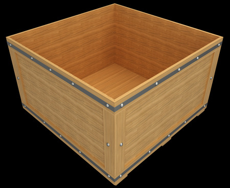 wooden crate. isolated on black background. 3d illustration illustration