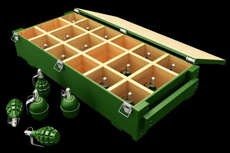 lanzamiento de bala: Caja Militar con granadas. Aislado sobre fondo negro. 3d Foto de archivo