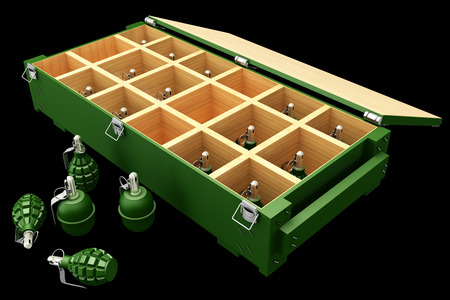 Military box with grenades. Isolated on black background. 3d photo