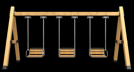 yard furniture: Wooden Swing. isolated on black background. 3d illustration
