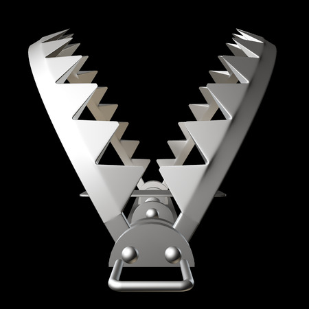 bear trap: bear trap. isolated on black background. 3d illustration