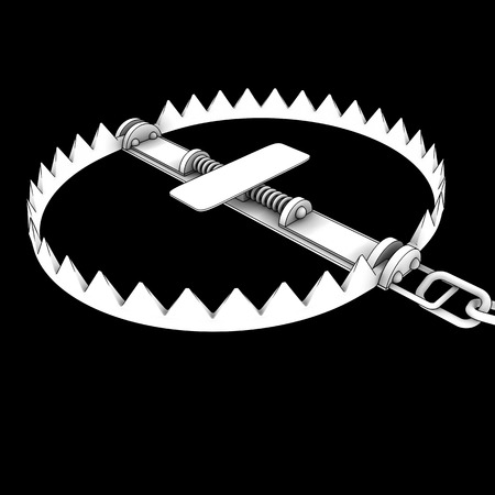 bear trap . isolated on black background. 3d photo