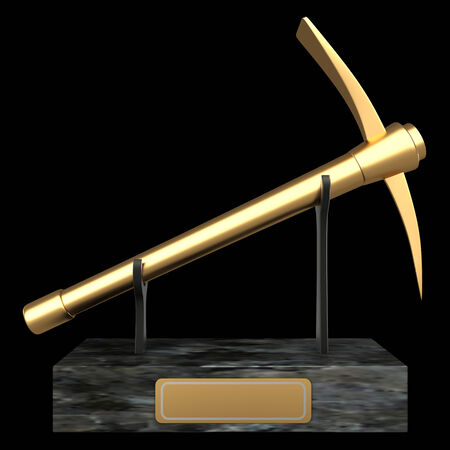 exploit: pickaxe, cup. isolated on black background 3d illustration. high resolution Stock Photo