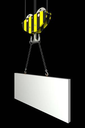 crane hook, lifting blank block. isolated on black background. 3d illustration illustration