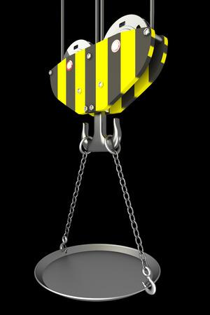 empty bowl: Crane hook, empty bowl. isolated on black background. 3d illustration
