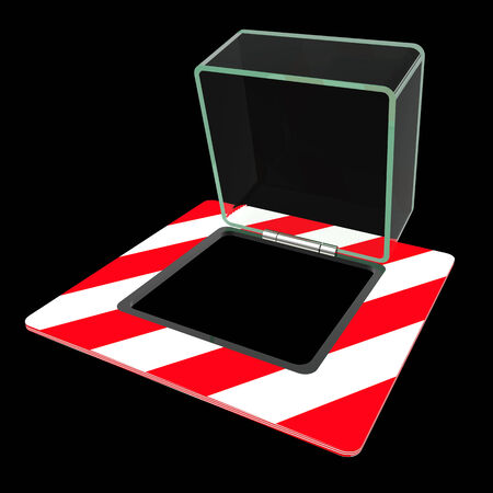 glass cover for the button. isolated black background. 3d photo