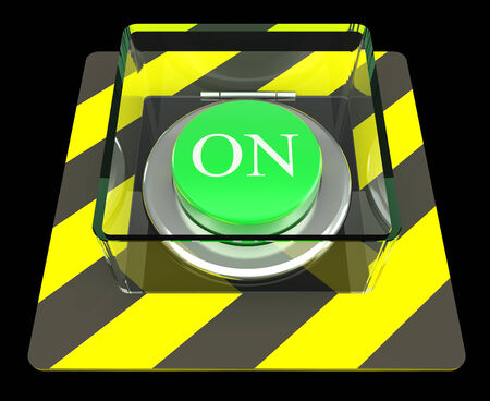The green button, ON, concept. isolated on black background. 3d photo