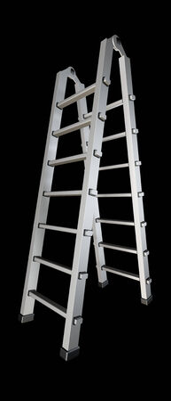 sully: metal ladder. isolated on black background. 3d illustration Stock Photo