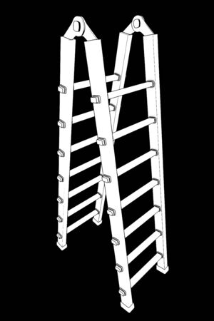 sully: Ladder. isolated on black background. 3d