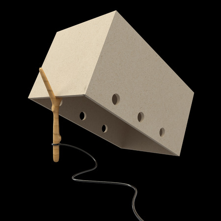 crate trap. realistic. isolated on black background. 3d illustration Stock Photo