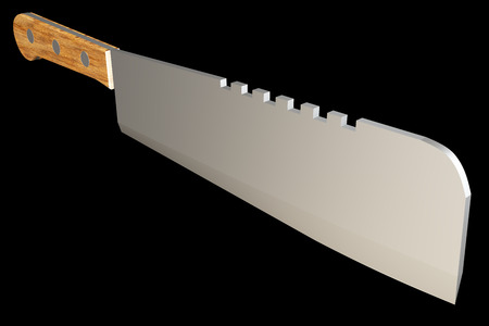 cooking implement: Meat cleaver, realistic. isolated on black background. 3d illustration