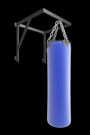 Punching bag for boxing. isolated on black background. 3d photo