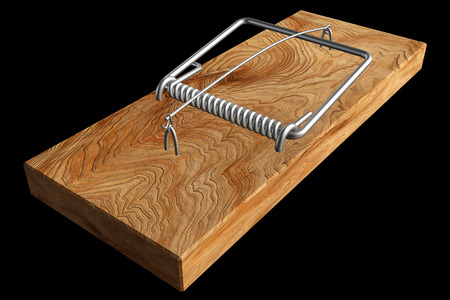 mousetrap. realistic. isolated on black background. 3d illustration illustration