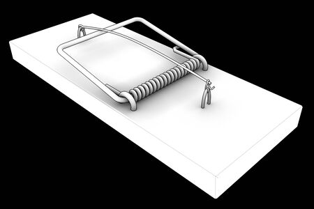 mousetrap. isolated on black background. 3d photo